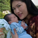 The Sakyong Wangmo with Jetsun Drukmo at three weeks, photo by Christoph Schoenherr.