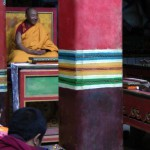 Karma Senge Rinpoche and monks reciting the Kagyu Gurtso at Surmang