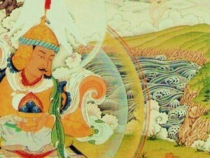 The cliffs of Cape Breton rise behind the Rigden King in this detail of a thangka by Gregory Smith. Photo courtesy of Gampo Abbey.