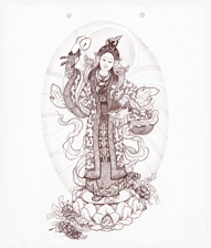 Yeshe Tsogyal banner, which now hangs in many of our shrinerooms