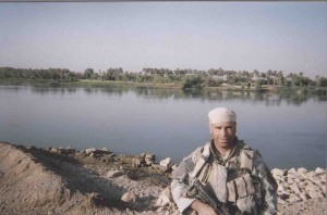 Sargeant Kendel at the Euphrates River, Iraq