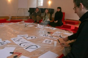 Karl, Sophie and Susanne at calligraphy practice