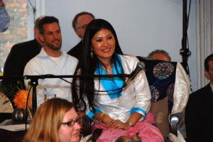 Sakyong Wangmo enjoying the Milarepa Chorus at the Shambhala Meditation Center of New York, December 28, 2008