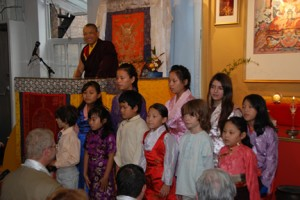 Milarepa Children's Choir performs for the Sakyong