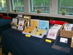 Sales set up at a Pema Chodron program, Omega Institute, New York