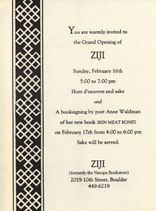 The invitation to Ziji's opening inside the Boulder Shambhala Center