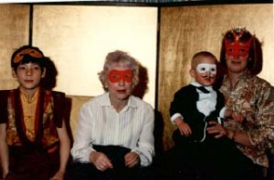 Taggie Mukpo; Mrs. Elizabeth Pybus, mother of Lady Diana; Ahsoka Mukpo and Lady Diana, at a birthday party for Gesar Mukpo. Kalapa Court, circa 1981.