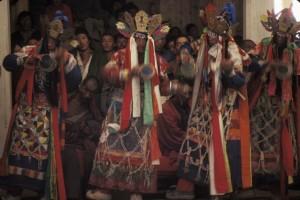 Surmang monks performing the Chakrasamvara Lama Dance, unique to the Surmang tradition.