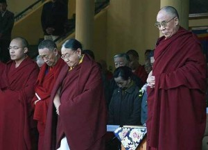 His Holinesses the Dalai Lama, Sakya Tridzin, and Karmapa lead a minute of silence in tribute to Tibetans within China. Photo courtesy of Phayul.com.