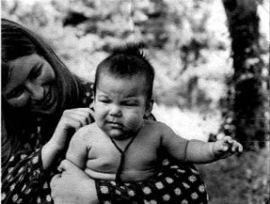Lady Diana holding Taggie Mukpo, circa 1973. Photographer unknown. Courtesy of the Shambhala Archives.