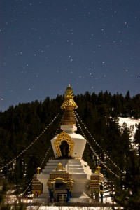 The Great Stupa of Dharmakaya Which Liberates Upon Seeing in moonlight by Marc O'Donoghue