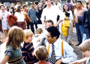 Trungpa Rinpoche blessing children, Shambhala Mountain Center. Early 1980s.