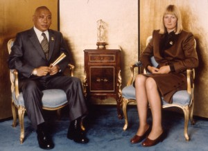 Chogyam Trungpa and Lady Diana seated at the Kalapa Court, Boulder in the early 1980s. Photo by Blair Hansen