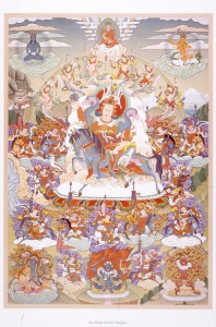 The Dorje Dradul Thangka, showing the Vidyadhara in his ultimate form. Designed by HHDilgo Khentse Rinpoche and Sakyong Mipham Rinpoche.