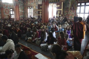 Westerners and Tibetan guests at the concluding ceremonies of the Rinchen Terdzo