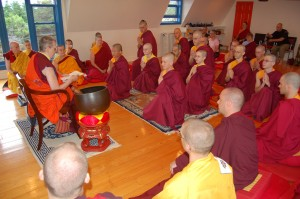 Retreatants receive precepts from Ani Tsultrim Palmo