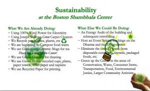 The Boston center's sustainability flyer