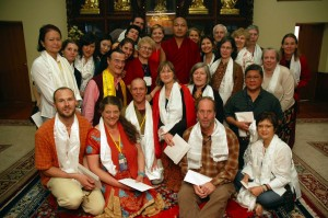 H.H. the Seventeenth Gyalwang Karmapa, surrounded by pilgrims.