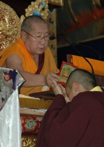 His Holiness Penor Rinpoche Blesses Sakyong Mipham, Photo by James Hoagland, Centre Productions