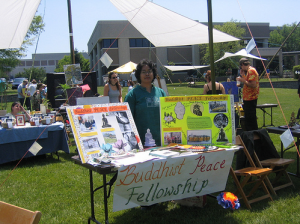 The author at the Buddhist Peace Fellowship table