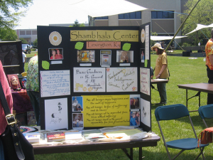 The Lexington, Kentucky Shambhala Center's outreach table
