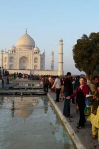 Laura Durand (right) at the Taj Mahal