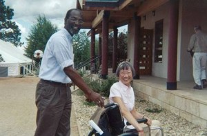 Sakyong's Council members Cortez Rainey and Sangyum Agnes Au participate in accessibility exercise at Shambhala Mountain Center.
