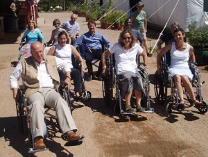 Sakyong's Council members engage in an accessibility exercise at Shambhala Mountain Center in 2005.