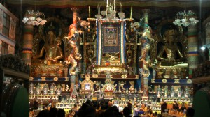 Mipham Thangka hanging in the vast Golden Temple at Namdroling