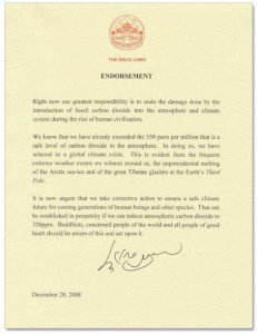 Letter from His Holiness the Dalai Lama