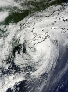 Satellite image of Hurricane Bill passing over Nova Scotia