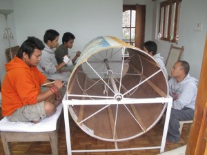 Artists working on Rigden Lineage Thangka at the Shambhala School of Art in India