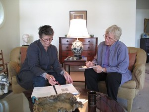 Judy Lief and Ellen Kearney working on material