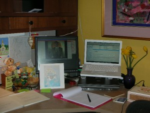 Shambhala Online -- That is my desk as I facilitate a talk on Werma that the Ashe Acharya, John Rockwell did for the community in Argentina.  Totally amazing.