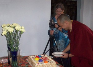 Khenpo Cuts the Celebration Cake