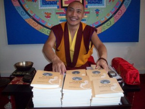 Khenpo shows his first book, The Sadhana of Shakyamuni Buddha