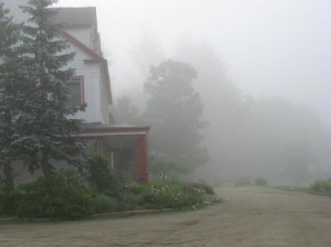 Karmê Chöling in the mist at the first Scorpion Seal retreat
