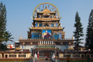 The Zangdopalri (Copper-coloured mountain) temple at Namdroling Monasterty complex. The Kudung (precious remains) of His Holiness' Penor Rinpoche are preserved here.