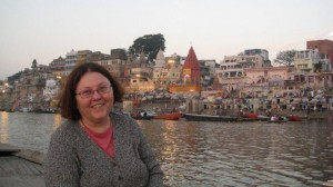 Carolyn Gimian on the Ganges River at dawn