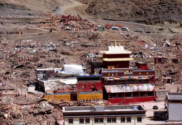 Devastation at Thrangu Tashi Choling following the earthquake in Jyekundo.