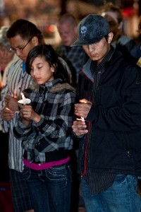 Tibetans at Boulder Vigil, photo by Marv Ross
