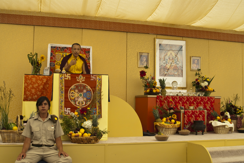 Sakyong Mipham Rinpoche leads the Great Mandala Offering at Shambhala Mountain Center, photo courtesy of Mark O'Donoghue