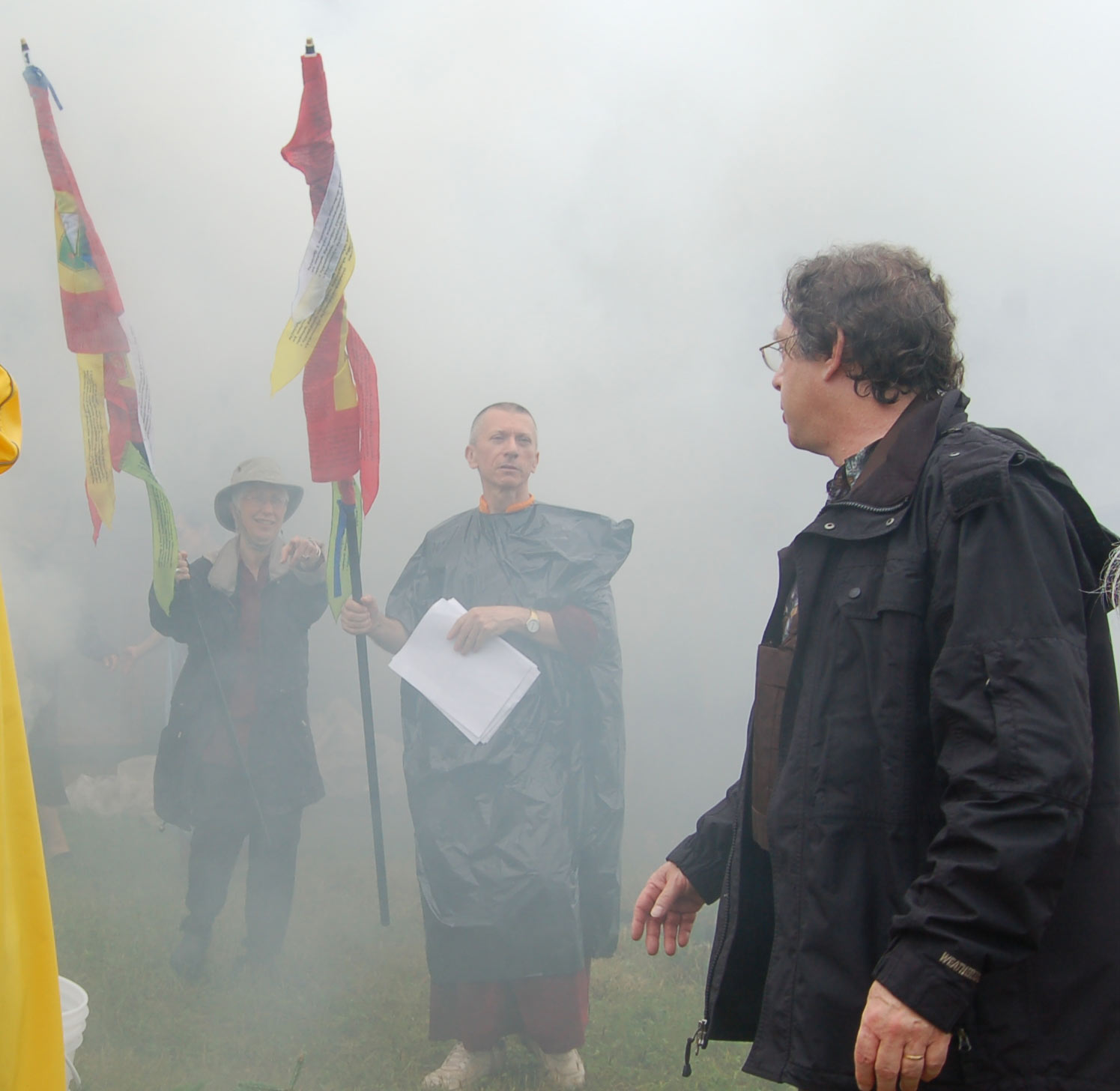 Acharya Larry Mermelstein is shown here in the white smoke of the lhasang, which was part of the gate opening and graduation celebration on Sunday, July 11th for eleven, three-year retreatants at Sopa Choling, Gampo Abbey.