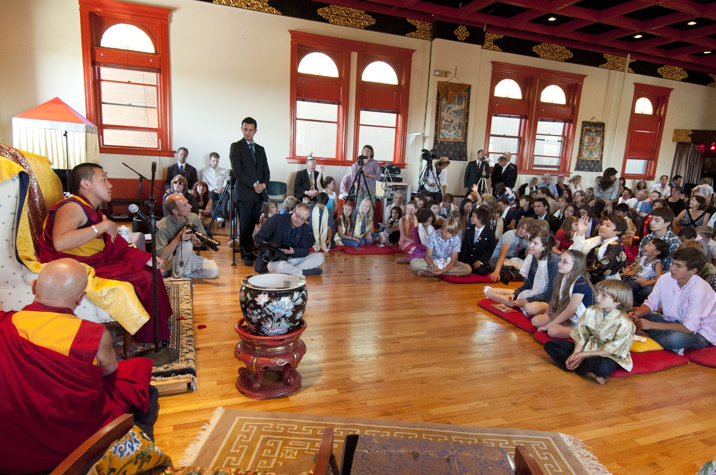 Children's Blessing with Yangsi Rinpoche. Photo by Marv Ross.