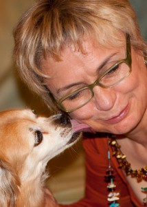 Elaine Logan with her dog, Tillie.
