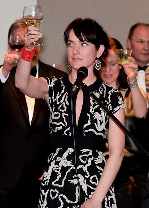 Kara Rich raises a toast to the Sakyong Wangmo.