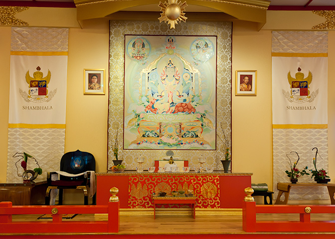 The new Primordial Rigden thangka in the Boulder Shambhala Meditation Center.
