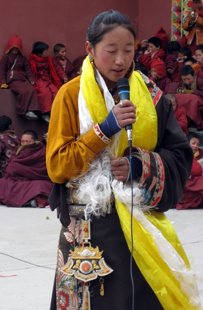 Tibetan girl at the awards ceremony for best students.