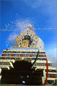 Confetti on the final day of the Stupa Consecration. Photo courtesy of Shambhala Mountain Center.