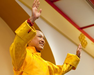 Sakyong Mipham Rinpoche Greets a Cheering Crowd on Shambhala Day. Photo courtesy of Marv Ross.